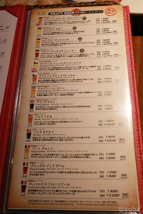 20 クラフトビールタップ メニュー