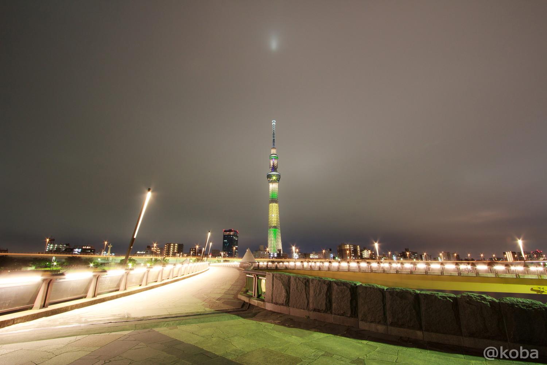 03東京スカイツリー「リオ五輪 ブラジル国旗」桜橋 浅草側より EOS Kiss X5