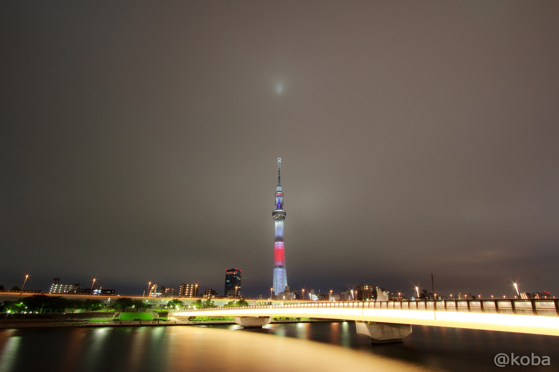 03東京スカイツリー「リオ五輪 日本国旗」桜橋 浅草側より EOS Kiss X5