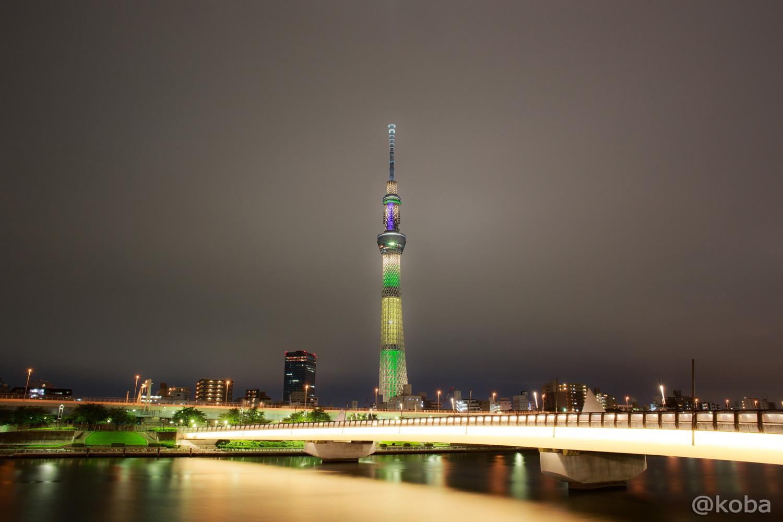 01東京スカイツリー「リオ五輪 ブラジル国旗」桜橋 浅草側より