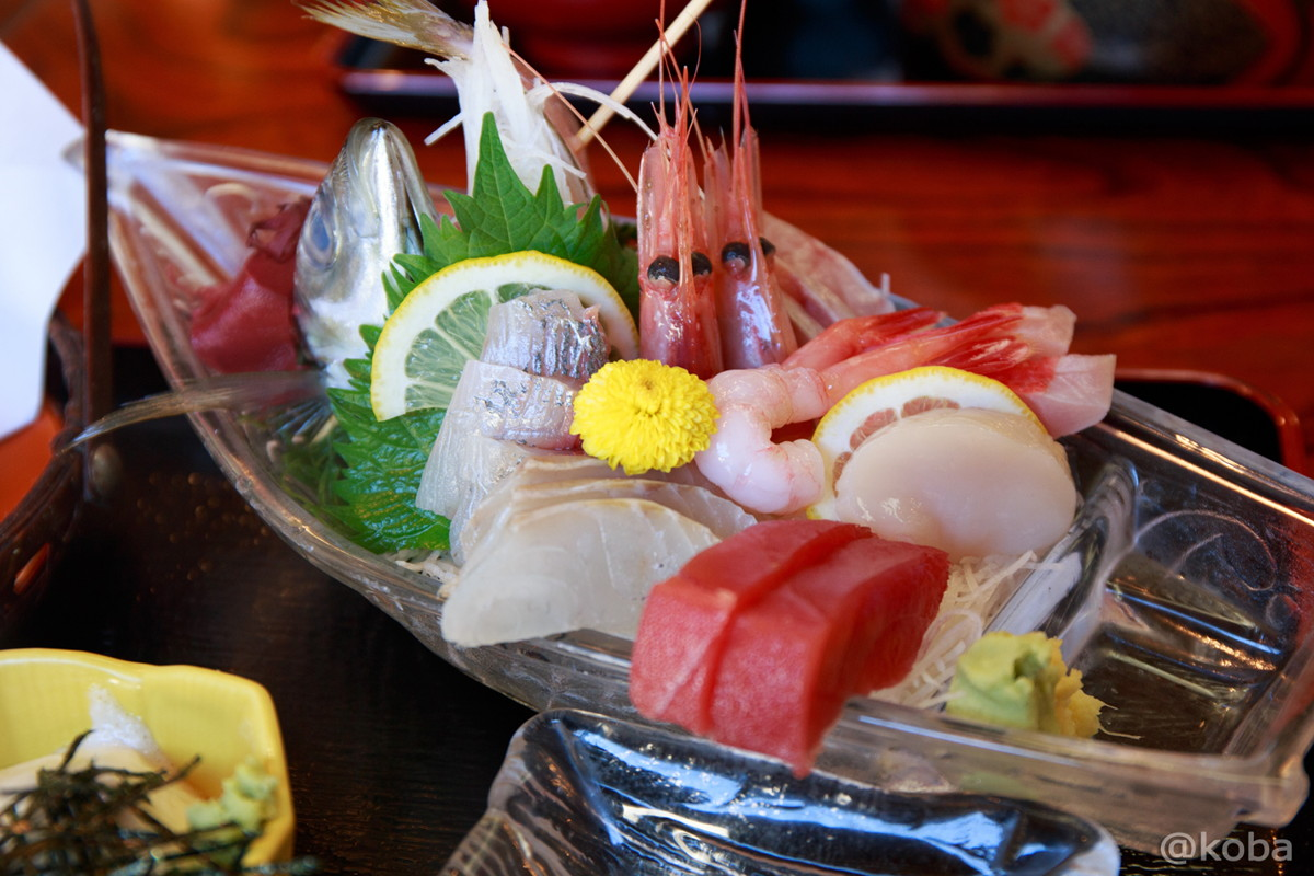 大漁定食 刺身(マグロ,帆立,甘海老,鯵,キンメダイ) 千葉県 銚子市 常陸(ひたち) 魚料理