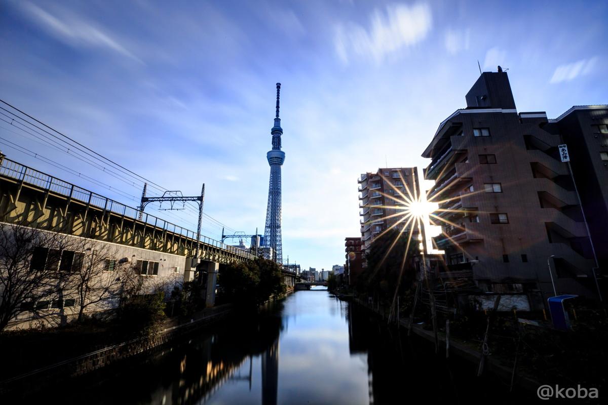 HDR 早朝 東京スカイツリーと北十間川 枕橋(まくらばし)より│写真日記