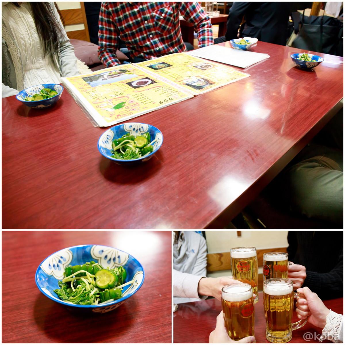 内観 お通し オリオンビール乾杯~♪ 東京 新小岩 島人ぬ宝(しまんちゅぬたから) 沖縄料理│こばフォトブログ