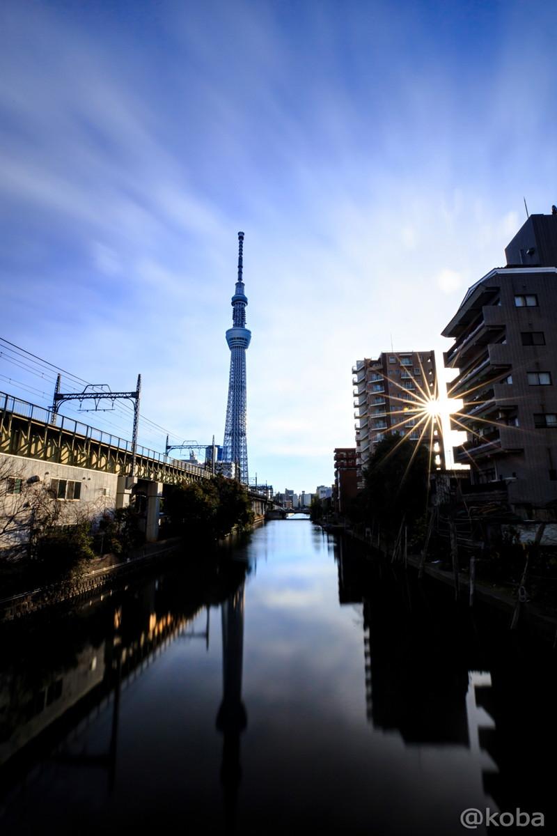 朝の東京スカイツリー、北十間川 枕橋より。 HDR画像です。写真ブログ│こばフォトブログ