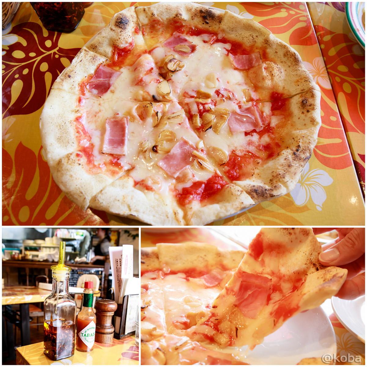 ニンニクベーコンピザ お好みでタバスコと辛味オイル 千葉 鎌ヶ谷 Coca(コカ) 生パスタ 手づくりピザ │こばフォトブログ