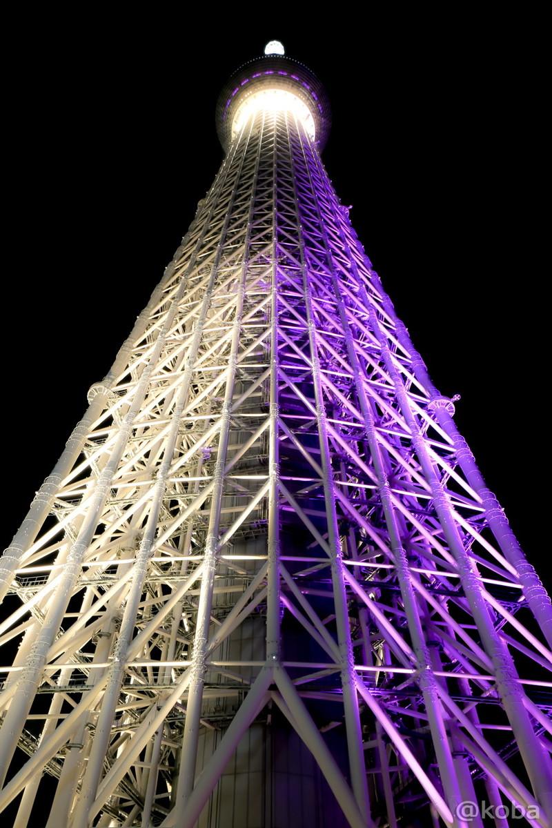 ソラマチの4階から見た東京スカイリー 紫と白色「雅」(solamachi)│こばフォトブログ