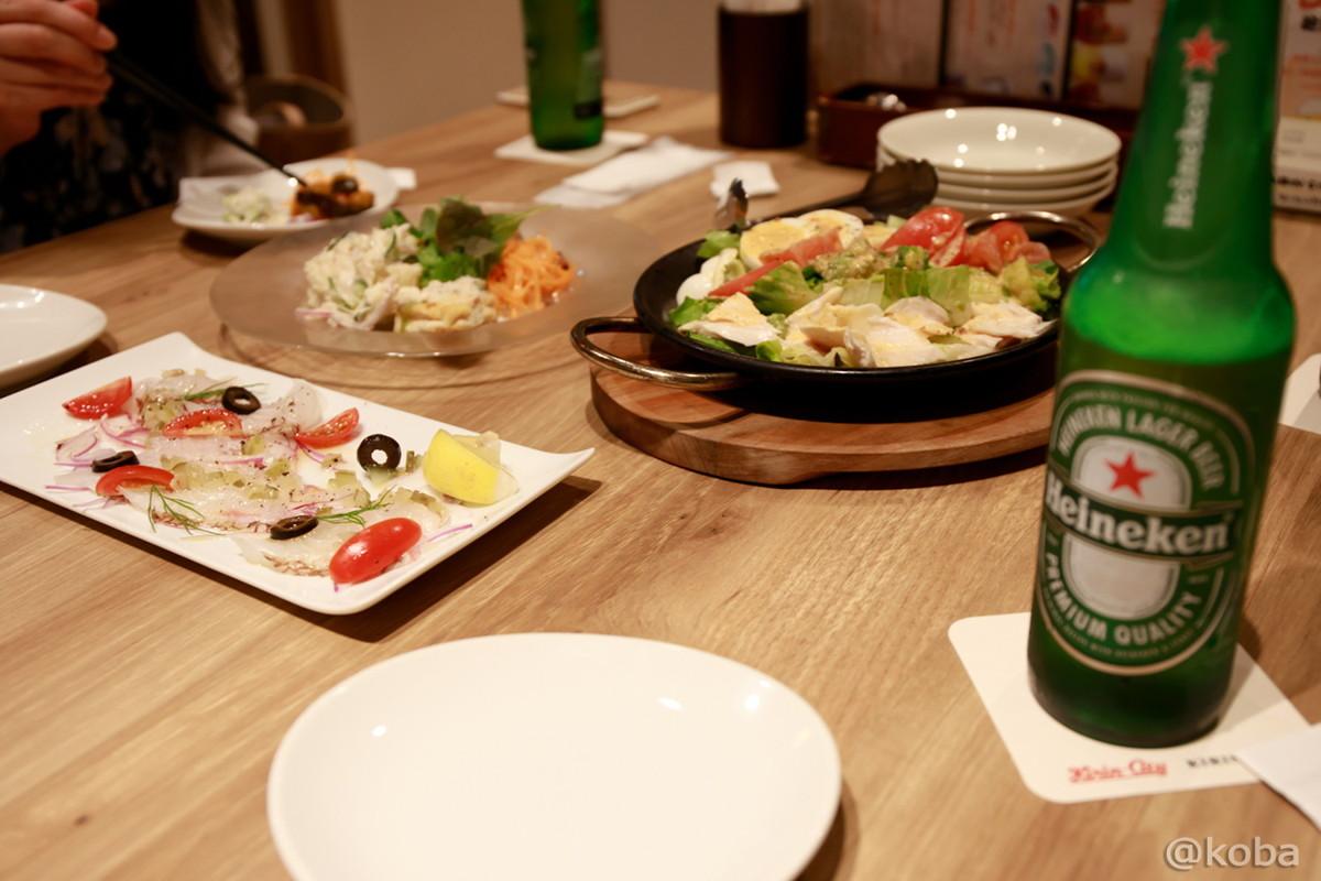 前菜・サラダ・カルパッチョ・瓶ビール(Heineken)│キリンシティ船堀│キリンビール│飲み放題│東京│船堀ブログ