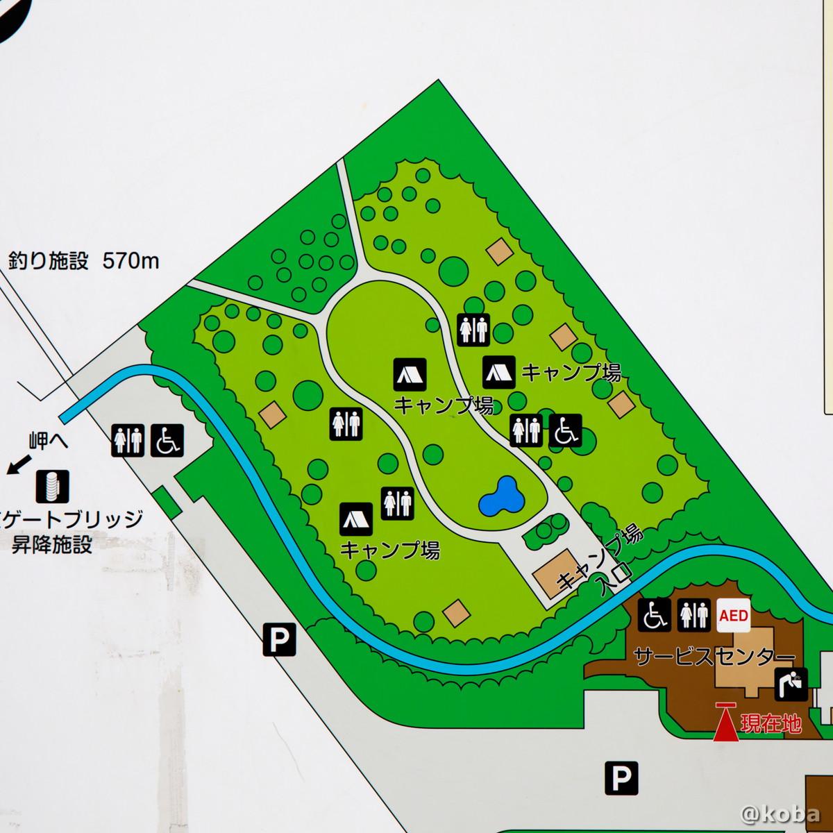 キャンプ場 案内図│若洲公園│江東区│こばフォトブログ@koba