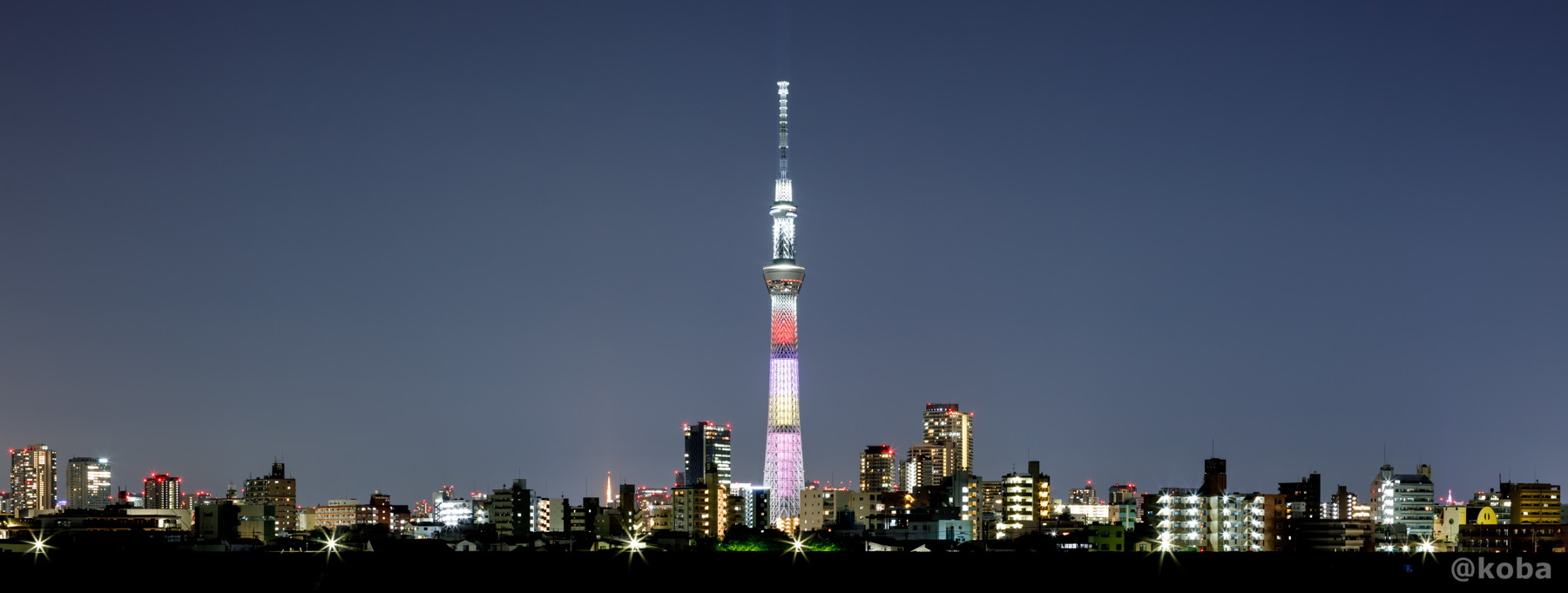 パノラマ写真 東京スカイツリー│ももいろクローバーZ結成10周年記念 特別ライティング│葛飾区 四ツ木│こばフォトブログ│@koba