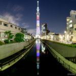 東京スカイツリー「ももいろクローバーZ結成10周年」逆さツリー 十間橋より
