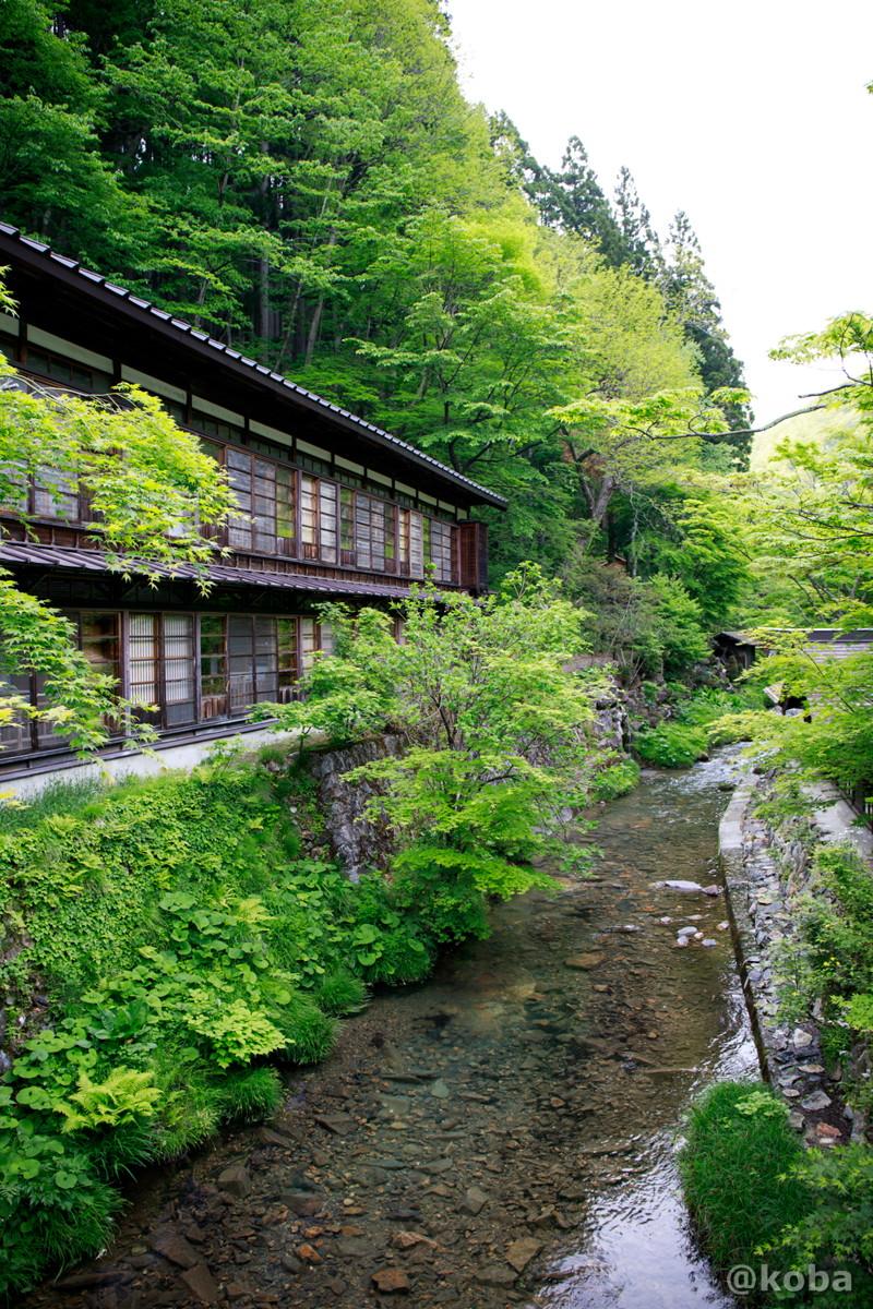 渡り廊下から見た美しい景色 法師川 法師温泉 長寿館 みなかみ町永井 群馬県