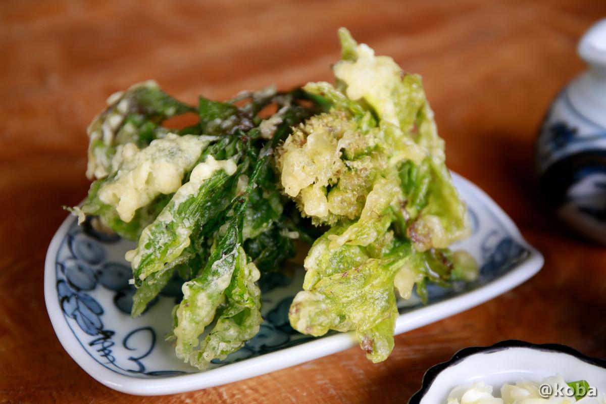 天ぷら(フキノトウ・ウド・コシアブラ)こしあぶらは、山菜の女王とも言われ、日持ちがしないので、スーパーなどでも、なかなかお目にかかれない。│たくみの里 四季の家(しきのいえ)│古民家 蕎麦ランチ│群馬県│こばフォトブログ@koba