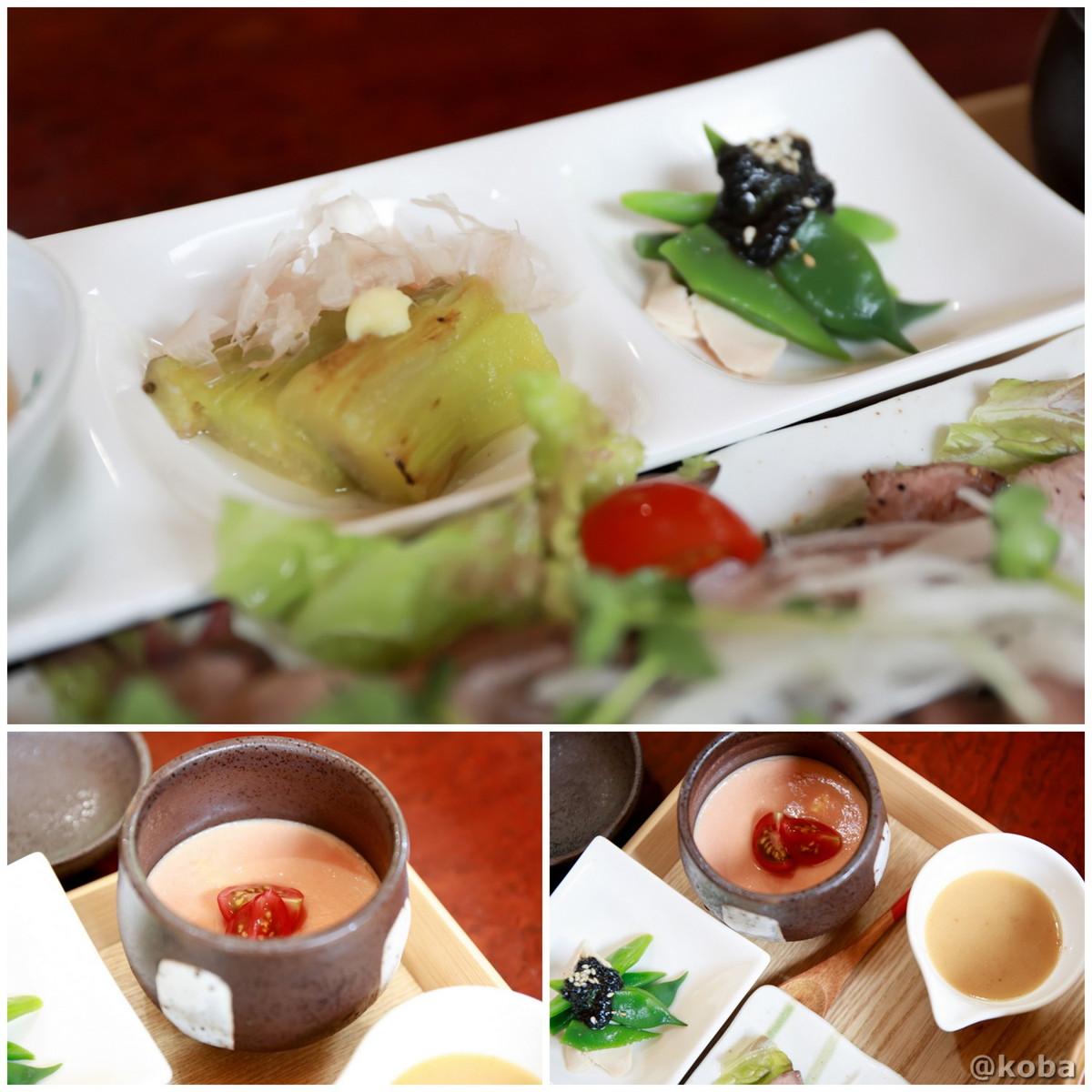 焼きナスの茄子の煮浸し・インゲンと蒸し鶏胡麻和え・トマトの冷製茶碗蒸し 花桃の里 休み処 すみよしや 長野県駒ヶ根市