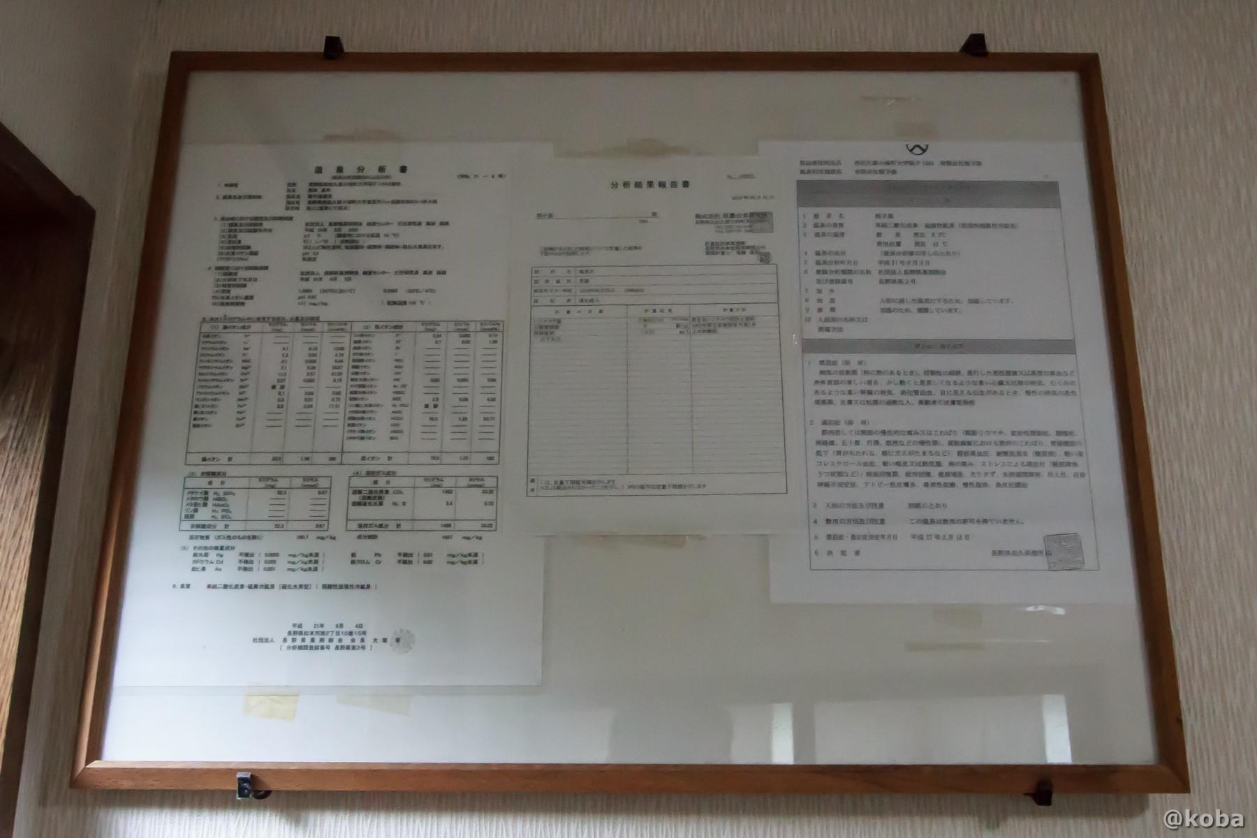 温泉分析表 泉質:二酸化炭素硫黄冷鉱泉 温度調整方式:加温式 PH4,9 二酸化炭素含有量 1094mg 稲子湯旅館 温泉 いなごゆおんせん 日帰り入浴