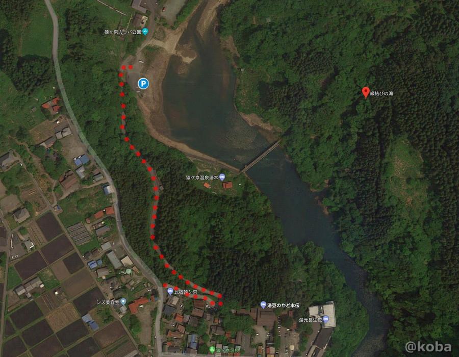 群馬 縁結びの滝 駐車場の地図