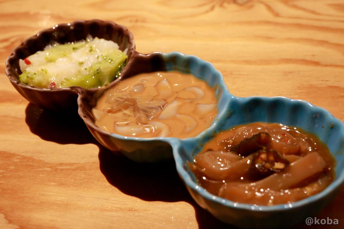 イカ珍味 塩辛三点盛り 320円 青砥 小江戸(こえど) もつ焼き 居酒屋