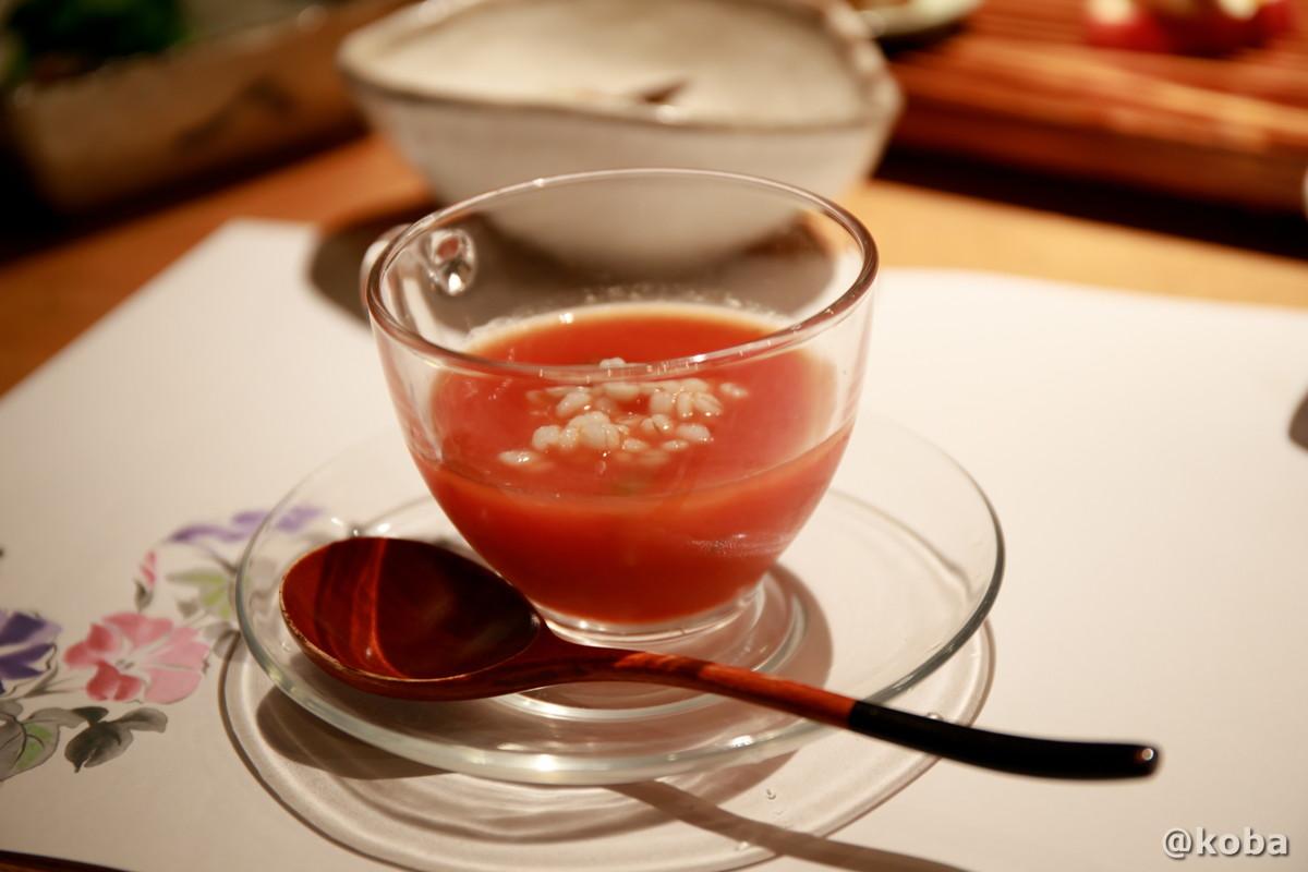 冷物・もち麦のトマトスープ 夕食 内山峠 初谷温泉(うちやまとうげ しょやおんせん) 長野県佐久市 日本秘湯を守る会