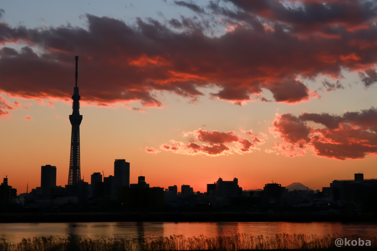 夕焼け 四つ木 スカイツリー 富士山 東京タワー トワイライト