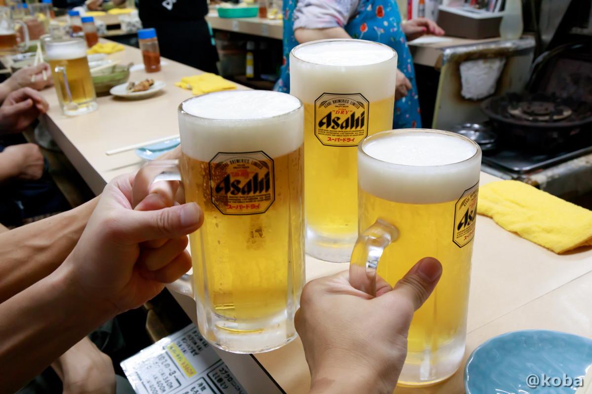 大生で乾杯の写真 スーパードライ(大生) 730円×3 江戸っ子 (えどっこ)大衆酒場 東京都葛飾区・立石 ブログ
