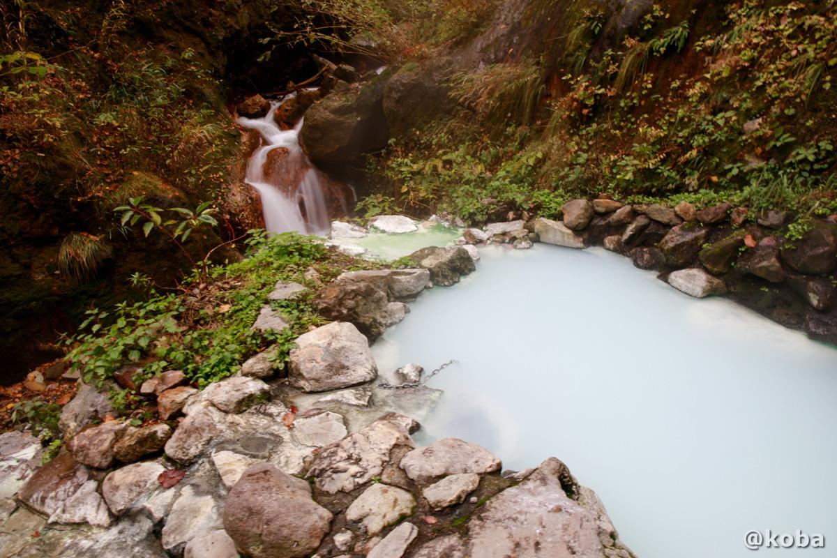 小さな滝と白いお湯の露天風呂の写真│燕温泉 河原の湯(つばめおんせん かわはらのゆ)│新潟県妙高市 ブログ