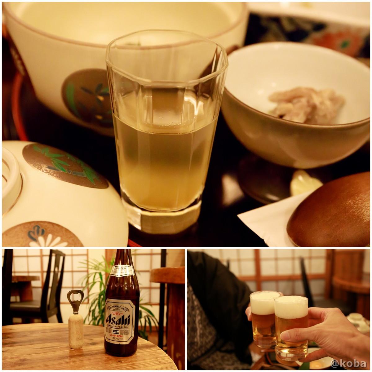 食前水・自家製の梅のジュースとアサヒ瓶ビールの写真 燕温泉 樺太館(つばめおんせん からふとかん)新潟県 妙高市