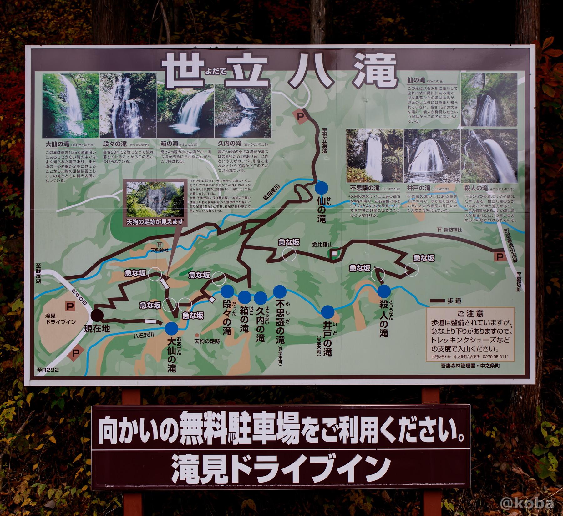 世立八滝(よだてやつたき)案内図 群馬県