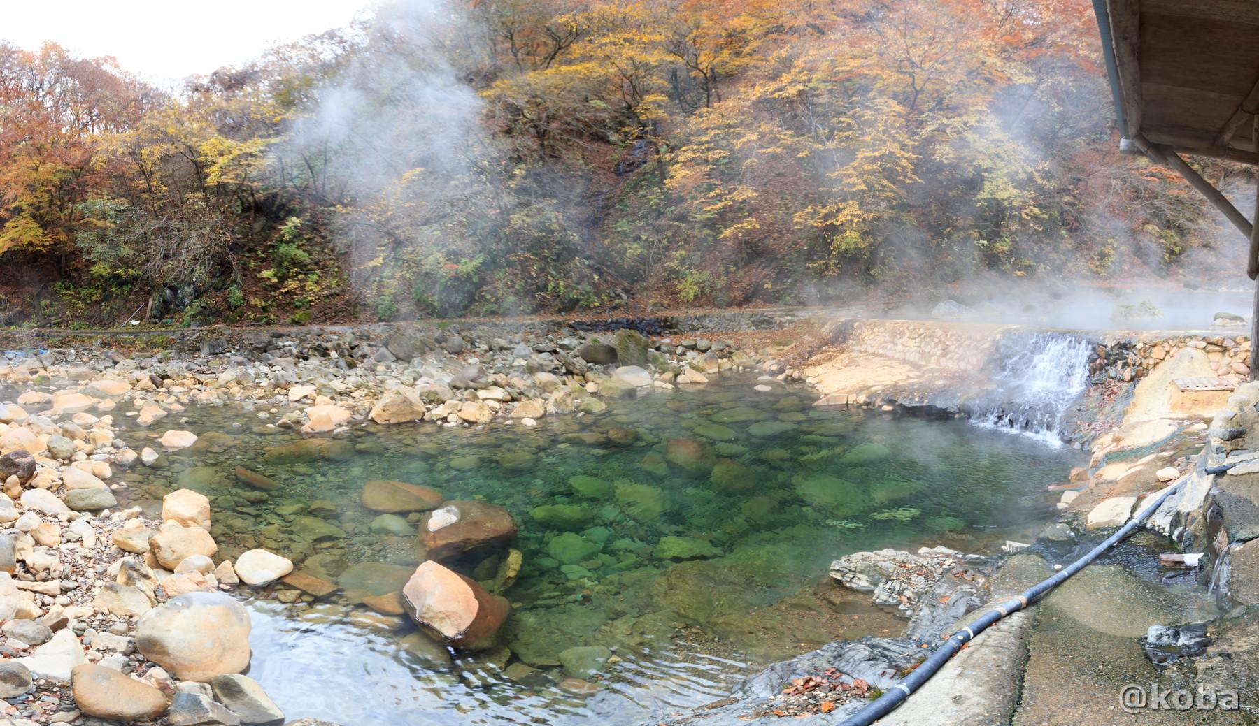 川の湯のパノラマ写真│尻焼温泉(しりやきおんせん)川の湯 日帰り入浴│群馬県 ブログ