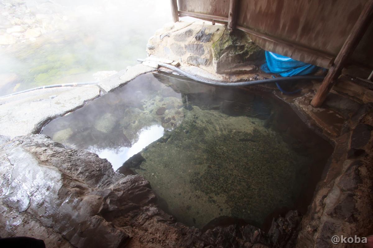上から観た湯船の写真│尻焼温泉(しりやきおんせん)川の湯 日帰り入浴│群馬県 ブログ