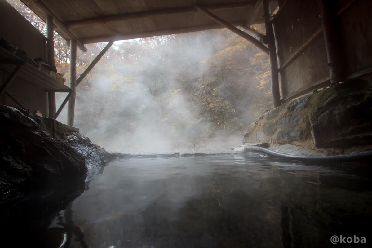 屋根付きのお風呂から観た紅葉景色の写真│尻焼温泉(しりやきおんせん)川の湯 日帰り入浴│群馬県 ブログ