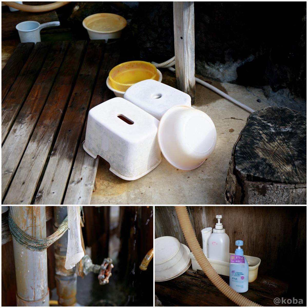 洗い場にある、石鹸・シャンプー・手桶・桶・お風呂椅子の写真│京塚温泉・しゃくなげの湯 日帰り入浴│群馬県 ブログ