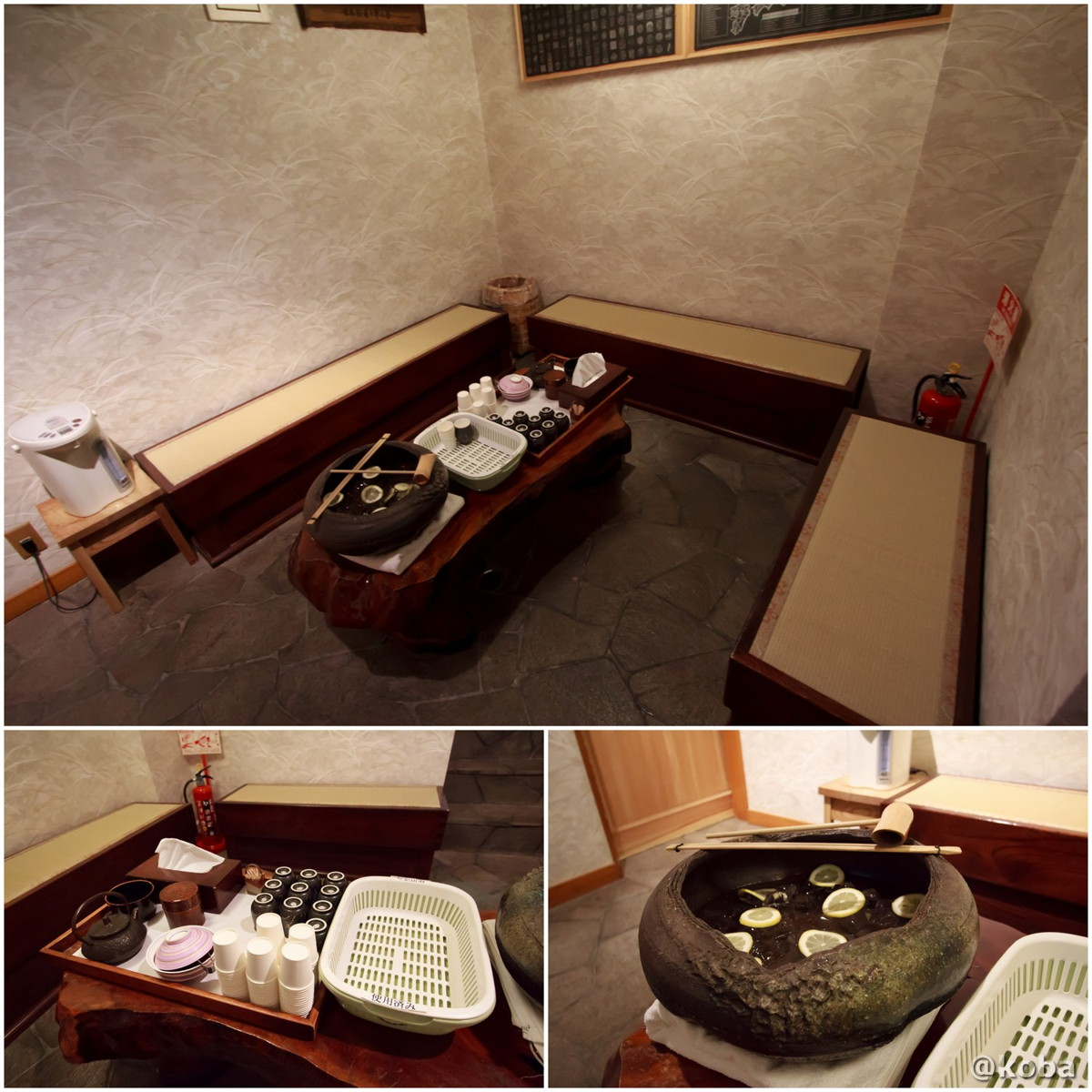 梅干し・お茶・レモン水が置いてある、湯上りまったりスペースの写真│たんげ温泉 美郷館(みさとかん)│群馬県 吾妻郡