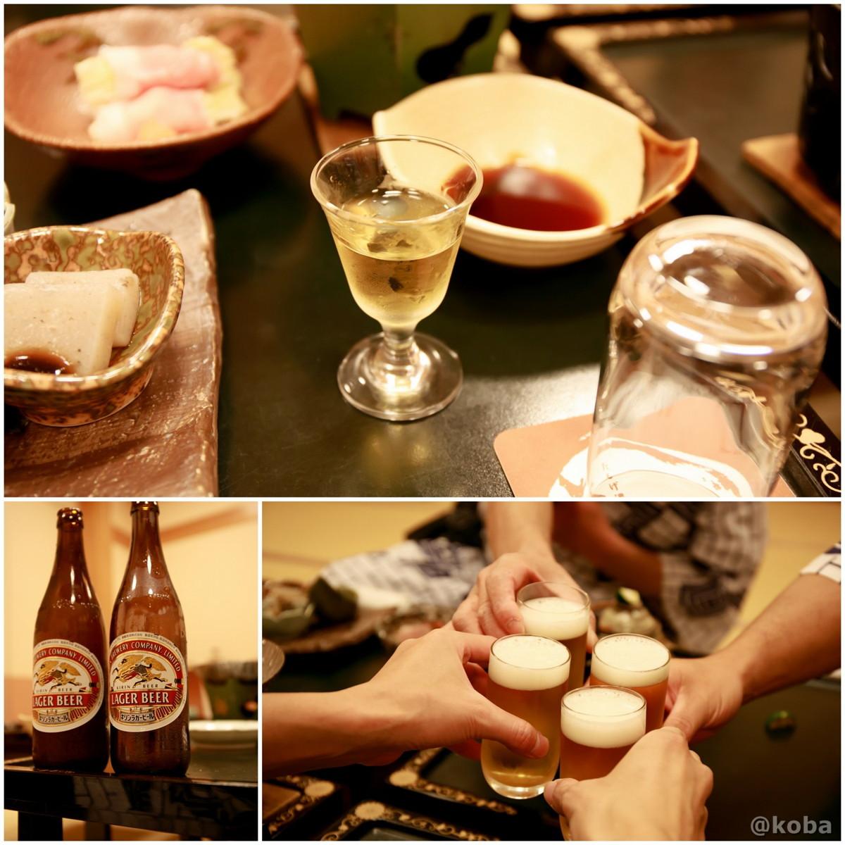 食前酒 梅酒 ・キリン瓶ビールで乾杯~♪の写真│たんげ温泉 美郷館(みさとかん)│群馬県 吾妻郡