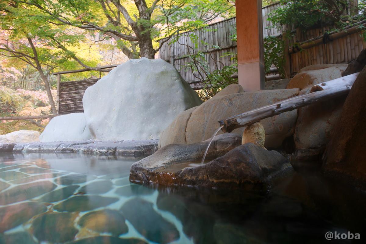 湯口と岩風呂の写真│たんげ温泉 美郷館(みさとかん)│群馬県 吾妻郡