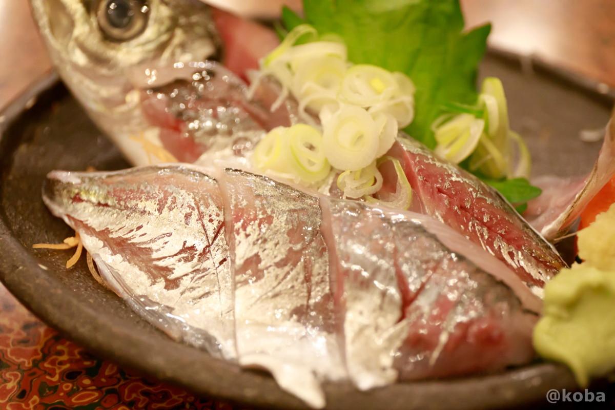 肉厚なアジ刺身の写真│大衆割烹 ゑびす(えびす)居酒屋 和食│東京葛飾区 四ツ木