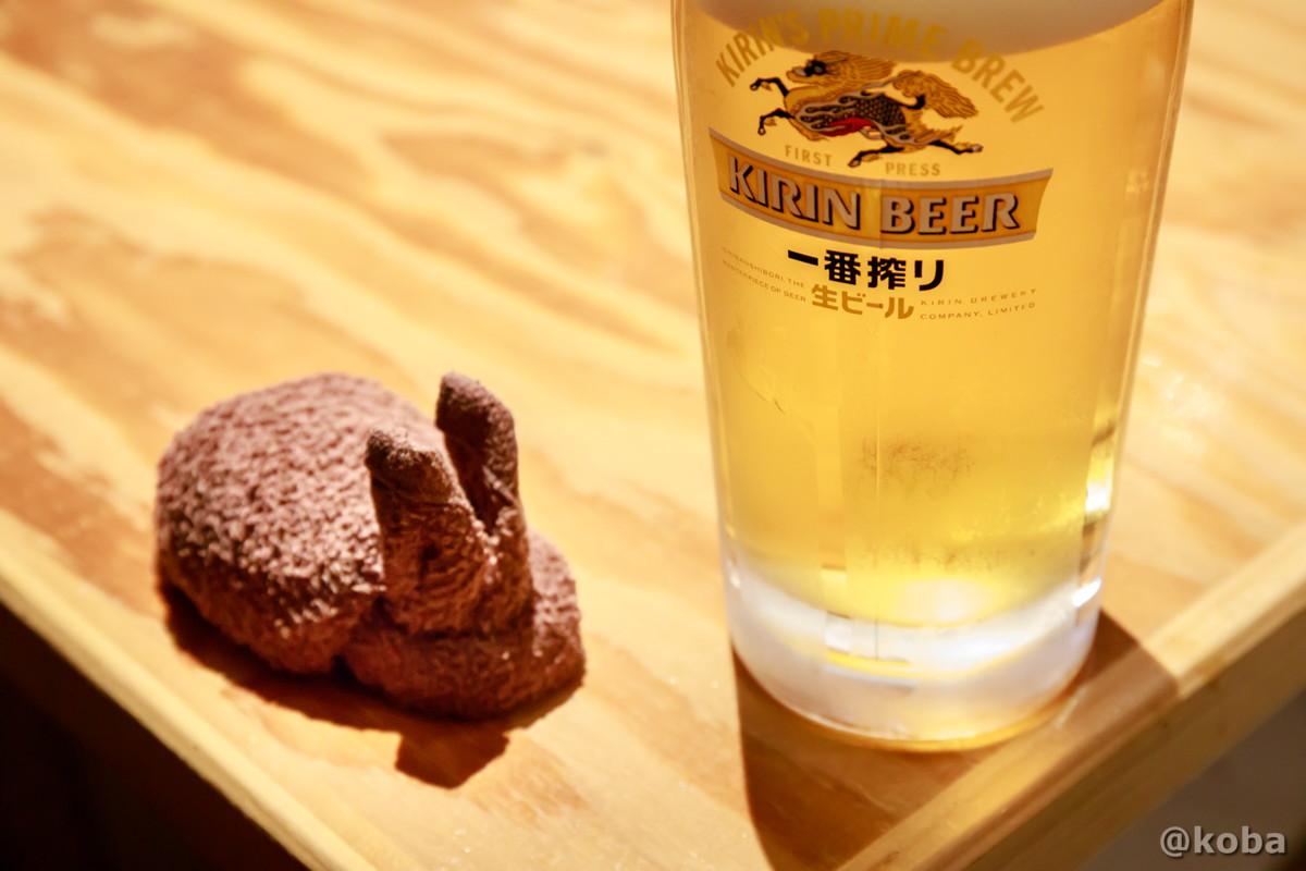 おしぼりもウサギとビールの写真|小江戸(coedo)居酒屋 もつ焼き|東京都葛飾区・京成青砥