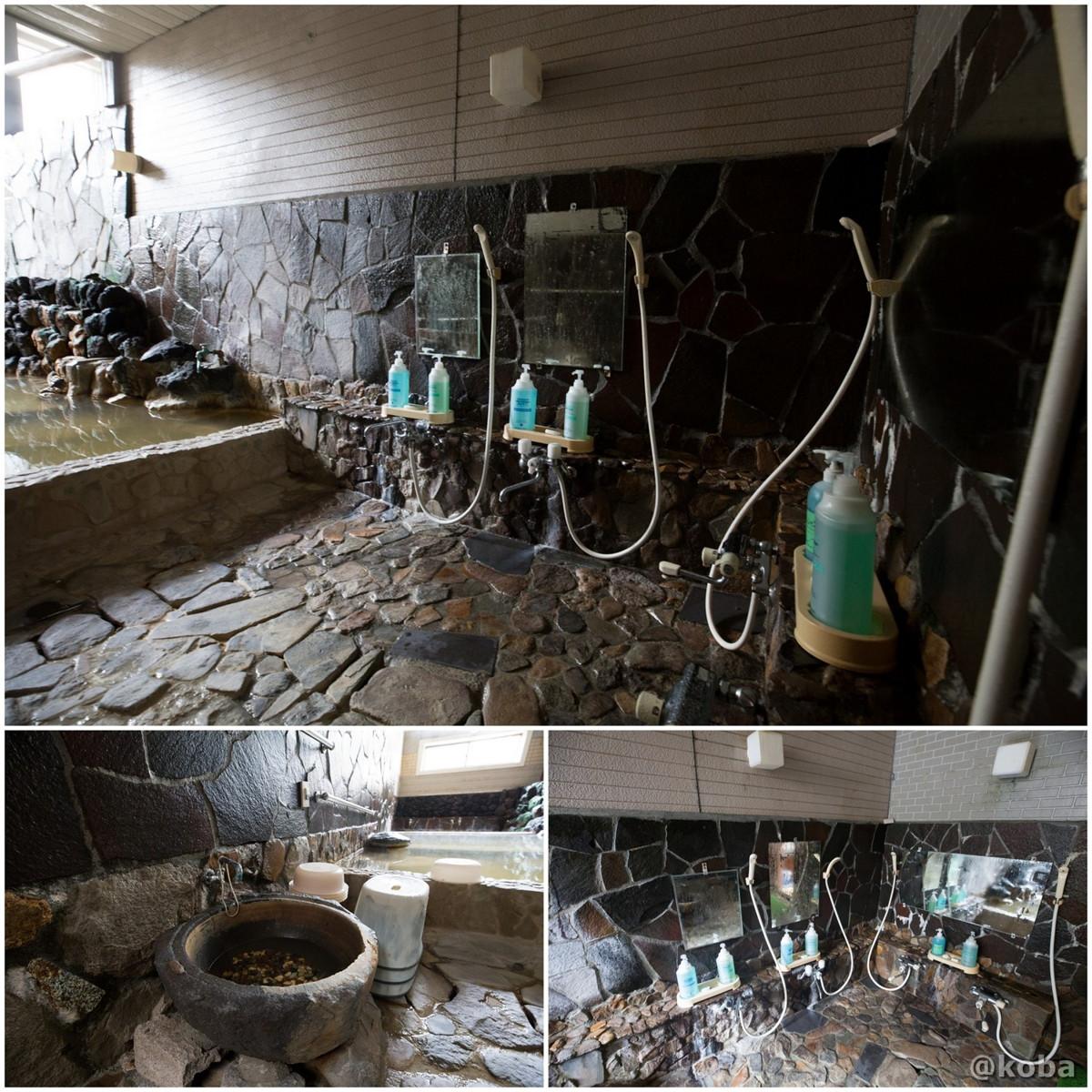 洗い場 4人分のシャワー付カランの写真|八千代温泉 芹の湯|日帰り入浴|群馬県