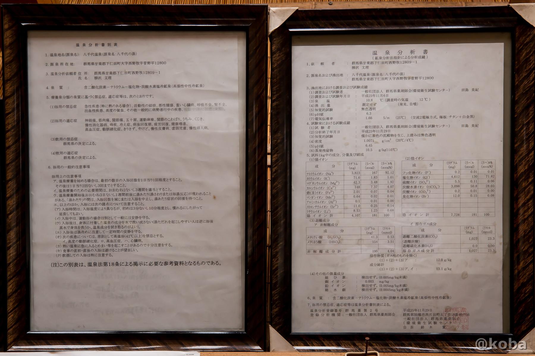 温泉分析書の写真|八千代温泉 芹の湯|日帰り入浴|群馬県