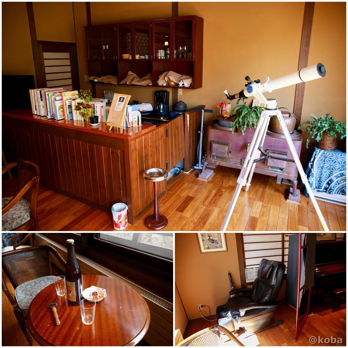 湯上がり休憩室・無料のマッサージチェアーと望遠鏡の写真|内山峠 初谷温泉(うちやまとうげ しょやおんせん)|長野県佐久市