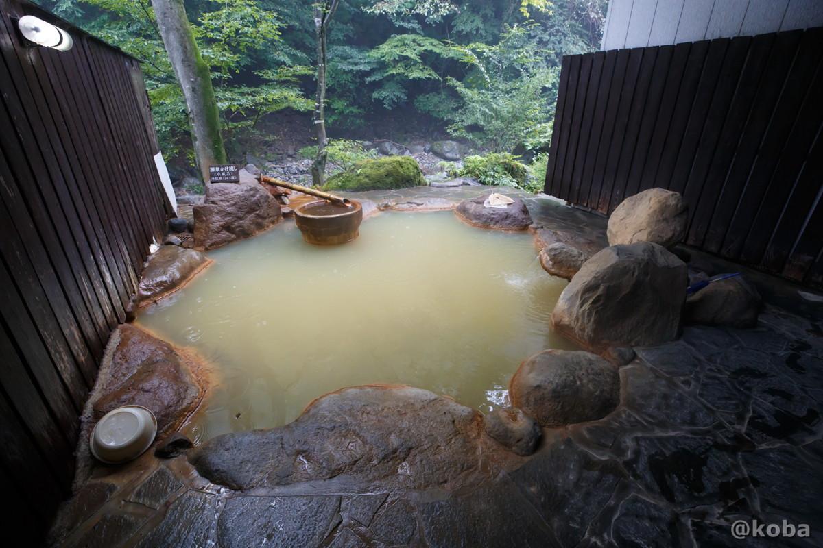 女湯、岩風呂の写真(半分ほど屋根が付いてる野天風呂)|滝沢温泉 滝沢館|日本秘湯を守る会|群馬県