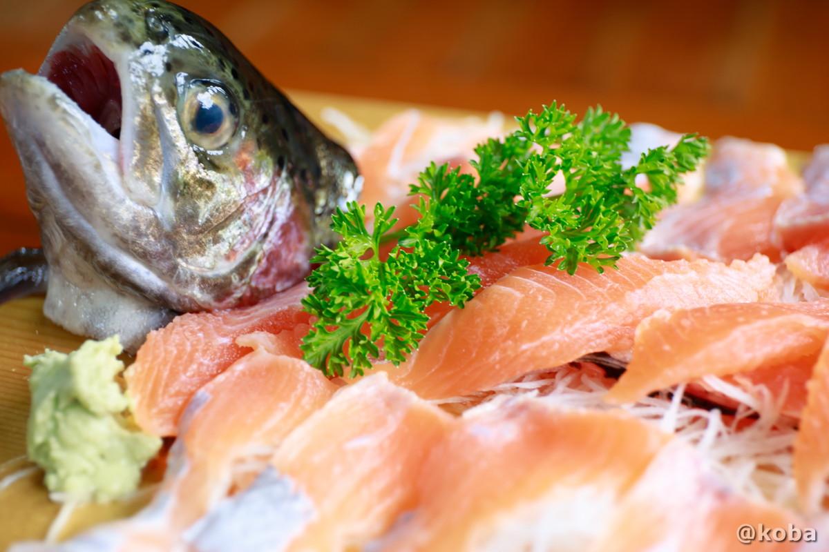 虹鱒のお刺身の写真|古戸中養魚場(ことちゅうようぎょじょう)|釣堀・虹マス釣り|栃木県