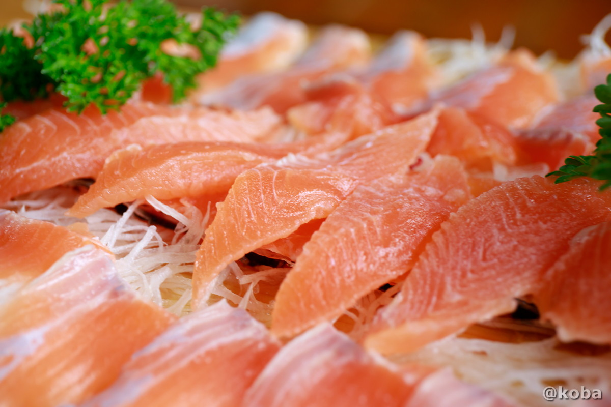鮮魚、虹マス刺身の写真|古戸中養魚場(ことちゅうようぎょじょう)|釣堀・虹マス釣り|栃木県