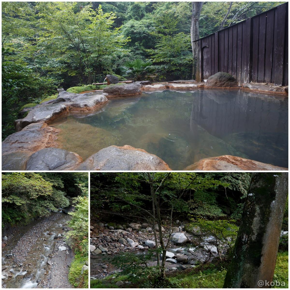 岩風呂と粕川の写真|滝沢温泉 滝沢館|日本秘湯を守る会|群馬県