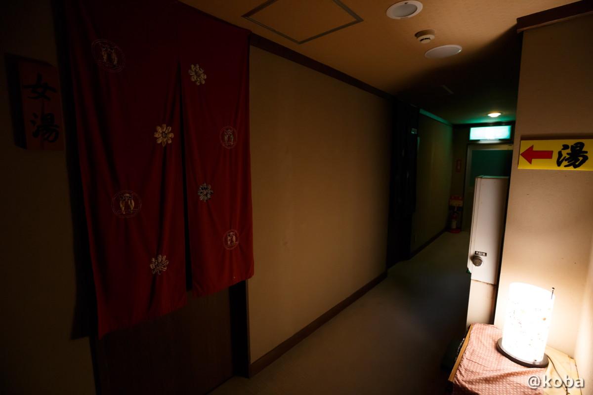 内湯の廊下・前が女湯、奥が男湯の写真|滝沢温泉 滝沢館|日本秘湯を守る会|群馬県