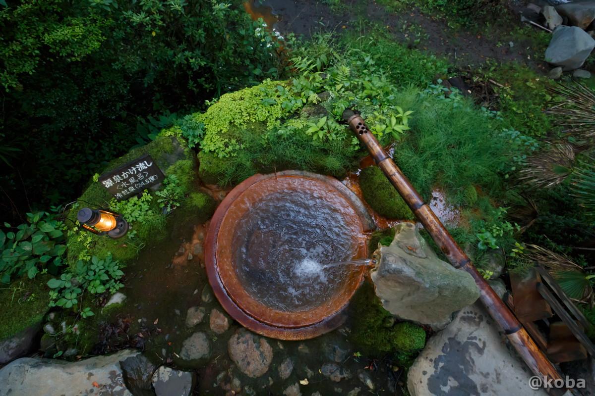 水風呂を俯瞰で見た写真|滝沢温泉 滝沢館|日本秘湯を守る会|群馬県