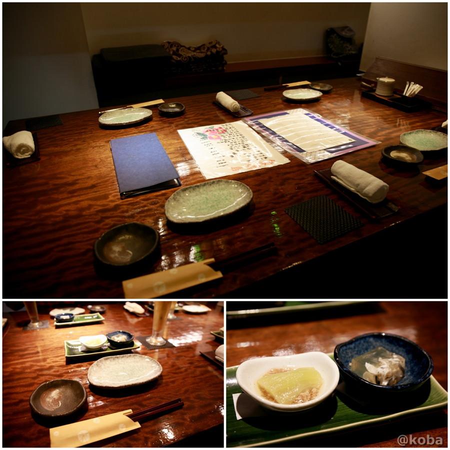 内観テーブル席・お通し 河豚の煮こごり ナスのそぼろあんかけの写真|福島(ふくしま)和食 海鮮料理|東京都葛飾区・新小岩