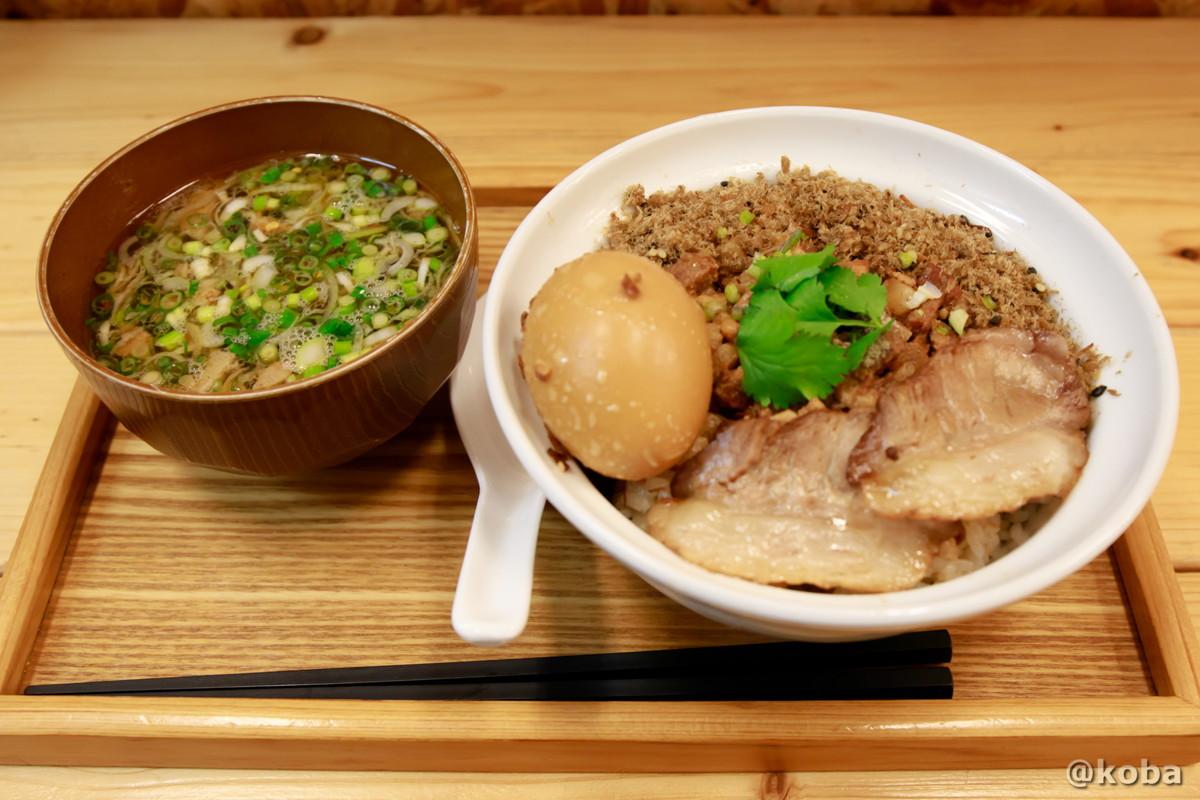魯肉飯 サービスセット (ルーローファン,煮玉子,スープ)の写真|赤丸(あかまる)ランチ 台湾料理店|東京都葛飾区・新小岩|こばブログ