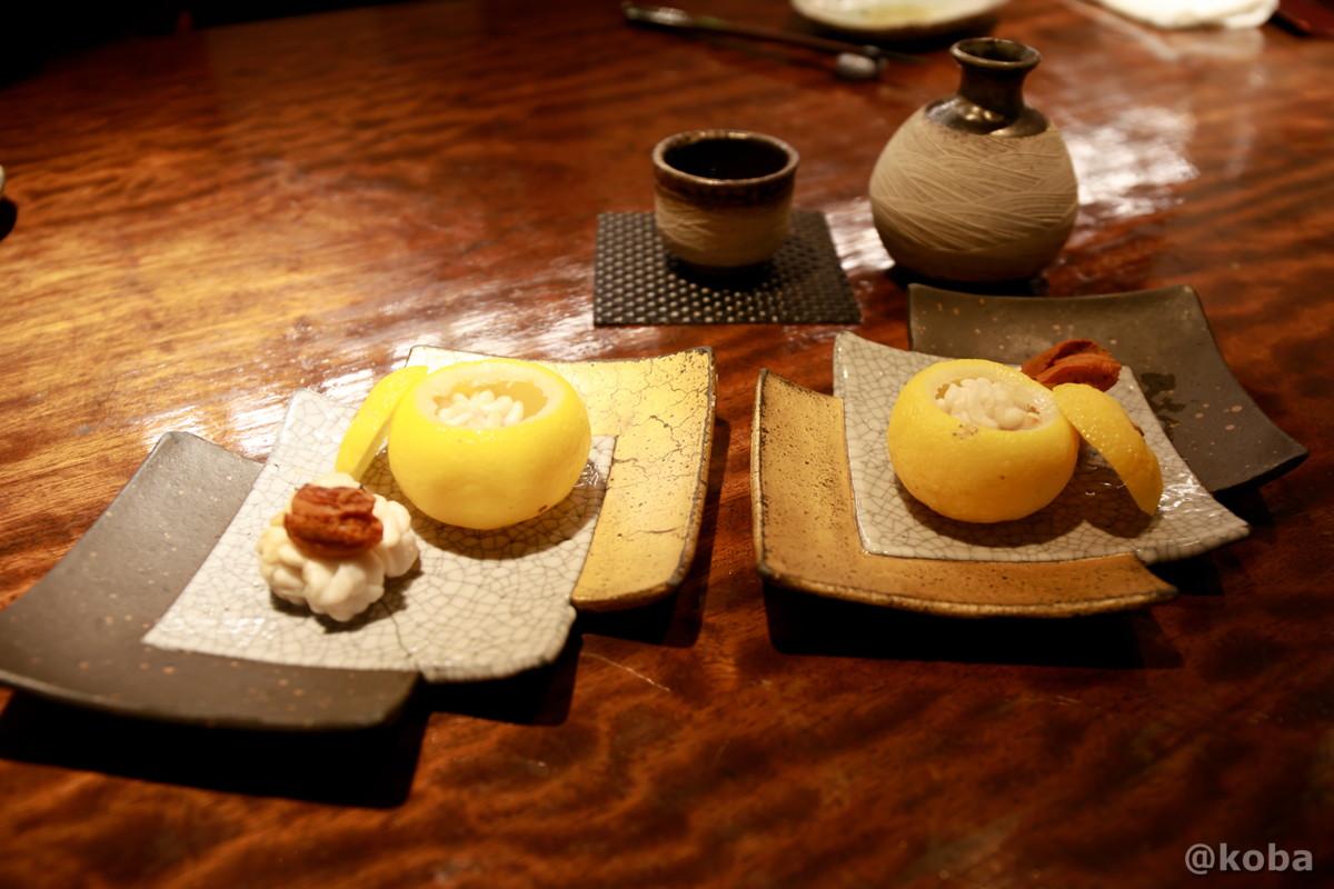 白子焼き 雲丹と柚子の器の写真|福島(ふくしま)和食 海鮮料理|東京都葛飾区・新小岩