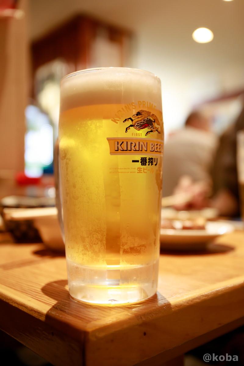 ジョッキ生ビール・キリンビール一番搾り(¥480 ⇒ ¥240)の写真 青砥 小江戸(こえど) もつ焼き 居酒屋  東京都葛飾区・青戸