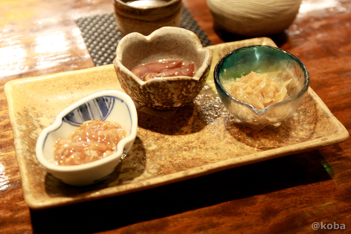 珍味の盛り合わせ マグロの酒盗 おきづけ サメ軟骨の写真|福島(ふくしま)和食 海鮮料理|東京都葛飾区・新小岩