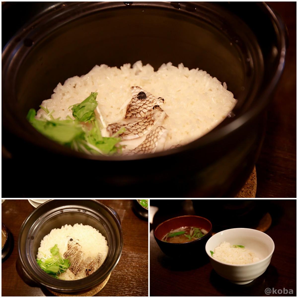真鯛 土鍋の炊き込みご飯(1合)と味噌汁の写真|六人衆(ろくにんしゅう) ROKUNIN SYU 日本酒 居酒屋|東京都江戸川区・小岩